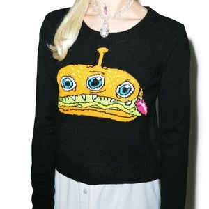 NWT Iron Fist Finger Food Crop Sweater Size:Small